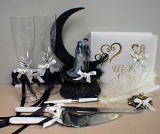 Corpse Bride Wedding Cake topper LOT Glasses knife set Guest book pen Halloweeen