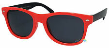 Kids Sunglasses Red Frame Black Arm Wayfarer Dark Lens Tint UV400 Retro New
