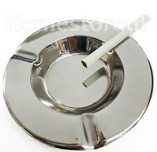 "5"" SMALL ROUND ASHTRAY CIGARETTE CAFE TABLE ASH TRAY STAINLESS STEEL CHROME Z35"