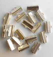30Pcs 13mm Silver Plated Fold Over Clip Tips Cord Crimp Ends Bead