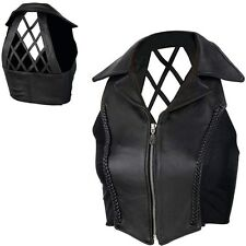 Ladies Black Genuine Leather Cross Hatch Vest Small Womens Motorcycle