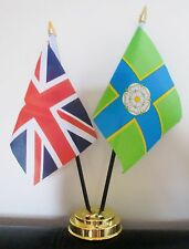 UNION JACK AND NORTH RIDING OF YORKSHIRE TABLE FLAG SET 2 flags plus GOLDEN BASE