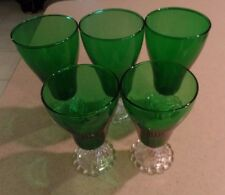 "5 ANCHOR HOCKING FOREST GREEN BURPLE TUMBLERS, 3 ICE TEA 6 3/4"", 2 WATER 6"""