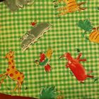 Fabric. Jungle animals on green & white check. Fat Quarter. Craft sewing