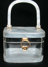 Vintage Lucite Box Purse, Marbleized Pearl White + Clear, Nice~