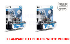 2 LAMPADE LAMPADINE H11 H 11 12V 55W PHILIPS WHITE VISION ULTRA LUCE BIANCA