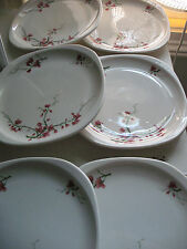 "6 SYRACUSE CHINA Trend Fred Harvey ""Berkeley"" Plates- 8.25""- Pink Blossoms"