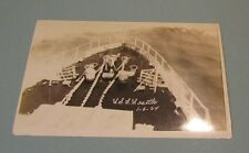 1924 USS Seattle US Navy Cruiser CA-11 Real Photo Postcard Back Deck View 1-6-24