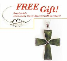Irish Sterling Silver Connemara Marble Large Cross Necklace + FREE Gift!  #1071