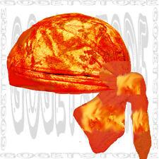 Tri Orange Paisley Do Bandana Doo Du Head Wrap Wear Skull Cap Biker Rag Hat
