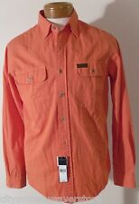 NWT Polo Ralph Lauren Mens L/S Chambry Shirt M Faded Orange MSRP$98