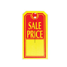 "1000 Large ""SALE PRICE"" Tags Red & Yellow Heavy Duty Paper Stock 4 3/4"" x 2 3/8"""