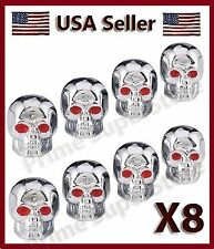 8 CHROME SKULL HEAD VALVE STEM CAPS MOTORCYCLE CAR TRUCK SUV BIKE TIRE AIR COVER