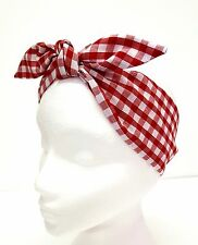 Rockabilly Headscarf Headband Bandana Red White Gingham Hair Tie