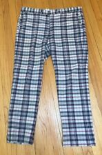 Vintage Trad Blue/Red/White Indian Madras Pants 40/30 Slim From Hickey Freeman