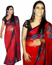 Beautiful Styish Designer Sari Kajol Red Embroidered Bollywood Replica Saree