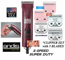 Andis SUPER PRO 2-Speed Clipper SET w/ 5 ULTRAEDGE Blades*PET DOG HORSE Grooming