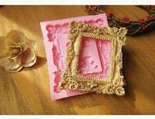 NEW Vintage Mirror Picture Frame Scroll Silicone Mould Cake Fondant Chocolate UK