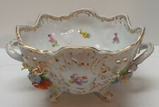 Dresden Footed Bowl with Handles Applied Flowers Cut Out Sides Scalloped Rim