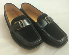 TOD'S WOMEN'S BLACK RIBBED SUEDE LEATHER SLIP ON BUCKLE LOAFERS FLAT MOC SHOES 7