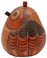 """Hand-Crafted in Peru 4"""" PERUVIAN ENGRAVED GOURD BOX Owl on Nest (1443)"""