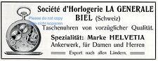 Taschenuhr Helvetia Biel Reklame v. 1909 Societé d´Horlogerie La Generale Uhr ad