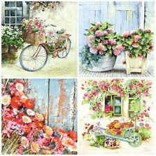 4x Single Table Party Paper Napkins for Decoupage Craft, Flower Garden, Mix
