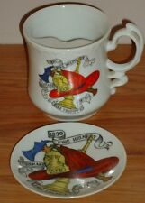 Fireman Fire Fighter porcelain MUSTACHE MUG & COASTER Vintage Japan