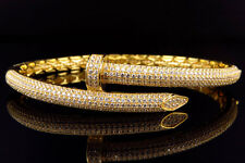 Yellow Gold Sterling Silver Simulated Diamonds Classic Nail Bangle Bracelet 6MM