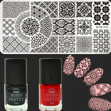 3Pcs/Set Nail Art Stamp Plate Flower Image Template Black Red Stamping Polish