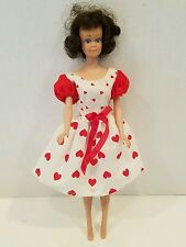 Fits Barbie - Red & White Heart Dress with Puffed Sleeves