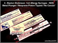 B-D 1cc GLASS ALLERGY SYRINGES X 3 Pieces  NOS USA BOXED with NO CANULAS