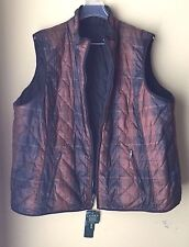 Ralph Lauren Plaid Brown Black Reversible Quilted Equestrian Zip Vest Plus 3X