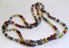 Long Vintage jewellery polished stone necklace 11234