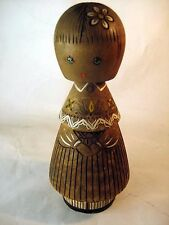 Vintage USSR Salvo wood DOLL GIRL Handmade Carved CCCP '60