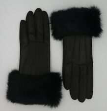 COACH Winter Gloves Black Leather Cashmere Lined Rabbit Fur Cuff F83731 6.5 D