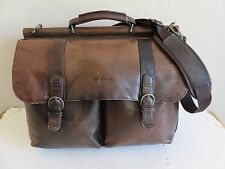 Solo Laptop Messenger Briefcase Bag Brown Leather