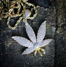 Marijuana Gold Plated Iced-Out Pot Weed Leaf Pendant 24 In Long Rope Chain