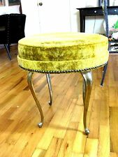 Ottoman Hassock Gold Velvet Heavy Metal Legs Removeable Cushion Mid Century