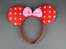 Red Pink minnie mouse ears headband ear hair band costume polka dot mickey