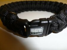 """SGT KNOT BRACELET 1/2 INCH PARACORD BLACK  9"""" LONG WITH CLIP/CLASP SERGEANT  NEW"""