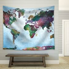 Watercolor World Map on a Blue Vignette Background - Fabric Tapestry- 51x60