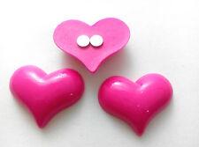 3 X Grande Hot Pink corazón encantos (30x23mm) Nevera Memo, decoración de los imanes fuertes