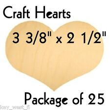 "CRAFT HEARTS ~ 3 3/8"" ~ Wood Cutout Shape ~ Unfinished { Lot of 25 } ~ by PLD"