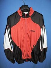 Adidas L Mens Red Black White Track Jacket 3 Stripe Long Sleeve Full Zip Large
