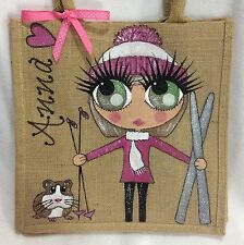 Handpainted Personalised Jute Celebrity Skiing Ski Girl Handbag Hand Bag  -