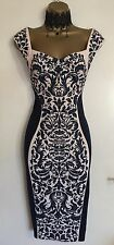 NWT LIPSY Illusion Navy Wiggle Bodycon Wedding Evening Party Dress UK 10 - 12