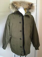 New $1995 Burberry Brit Mens Coat Overcoat Fall Winter Military Green XL