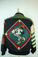 RARE JEFF HAMILTON DISNEY MICKEY MOUSE BASEBALL DIAMOND LEATHER  JACKET S