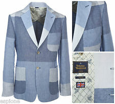 VIVIENNE WESTWOOD SLIM-FIT SKY BLUE PATCHWORK LINEN JACKET BLAZER. UK 38R, IT48R